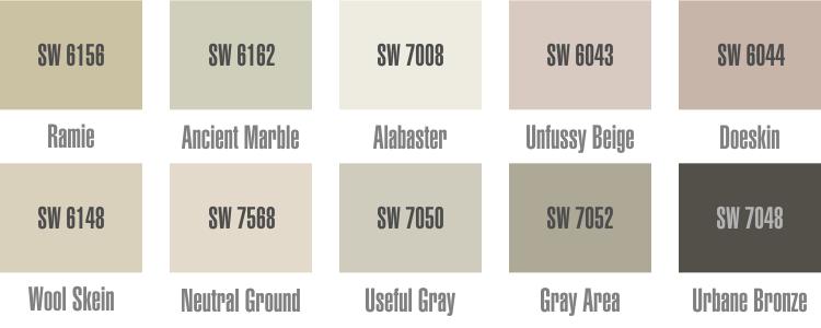 Палитра Шервин Вильямс. Дизайн интерьера. Фото. Природные цвета краски для стен. Готовые цветовые схемы для вашего дома.